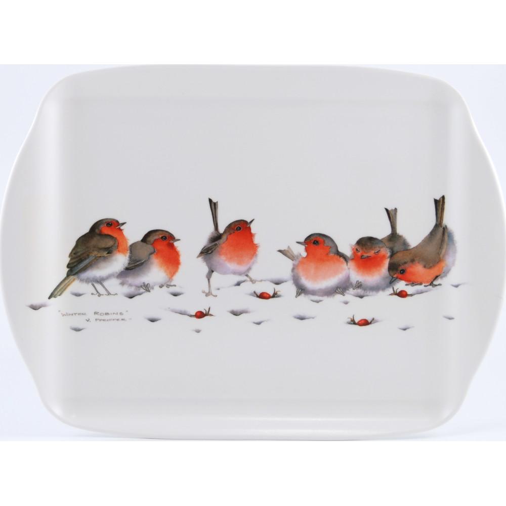 Winter Robins Medium Tray with Handles (M50)
