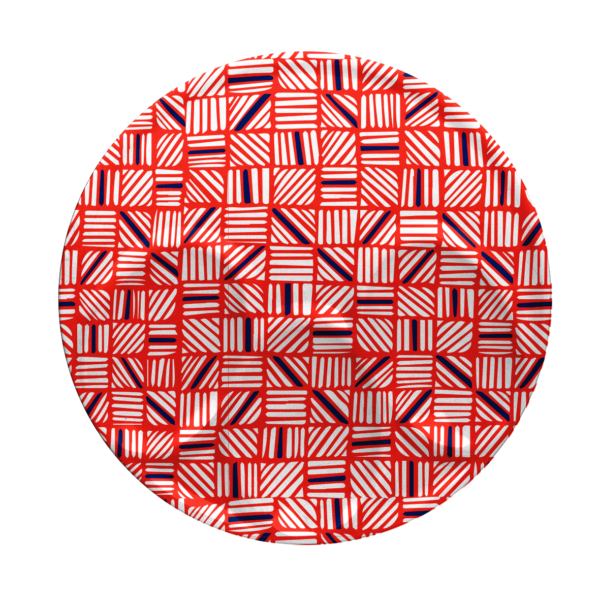 Custom melamine printing - red coaster with patterns