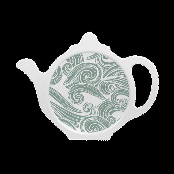 Custom melamine printed tea coaster in a teal green with seashore pattern