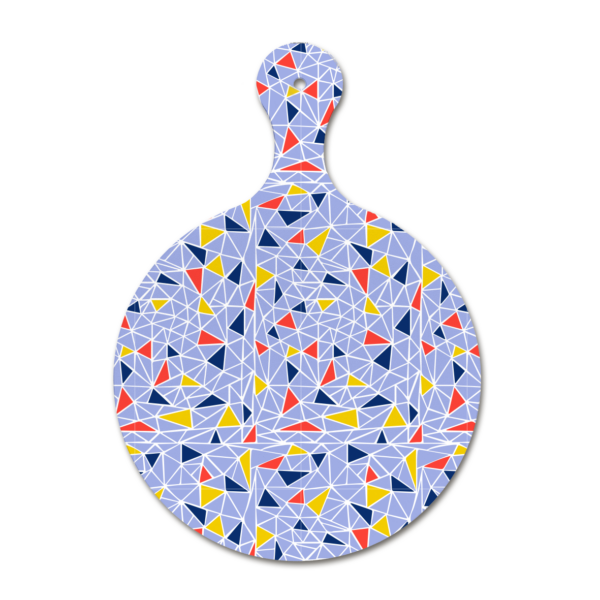 Custom melamine printing - blue chopping board with colourful patterns