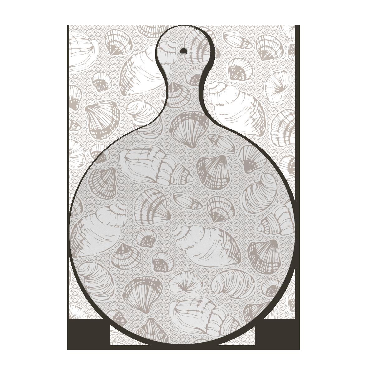 Custom melamine printing - grey chopping board with multi patterns