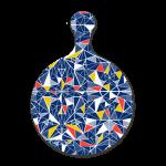 Custom melamine printing - Navy blue chopping board with multicoloured shard patterns