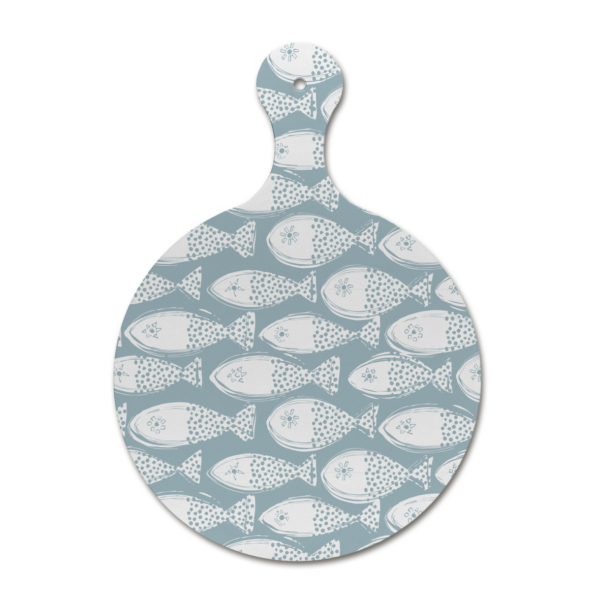 Custom melamine printing - dull blue chopping board with fish patterns
