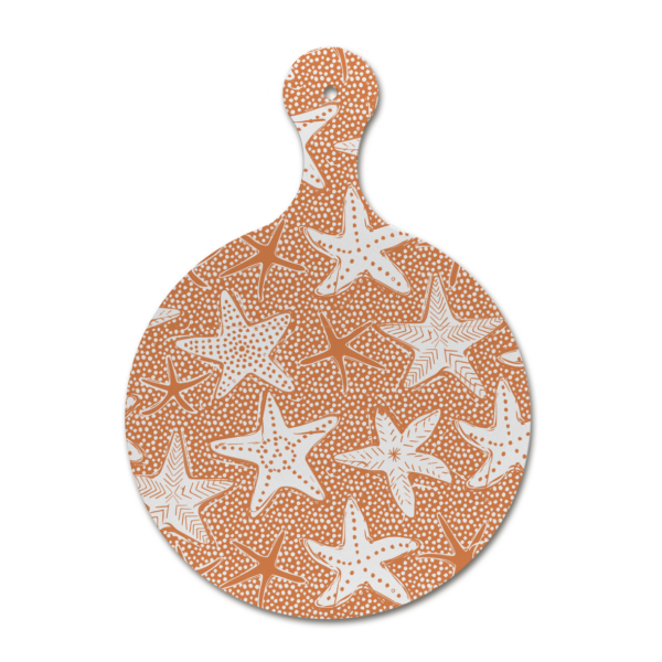Custom melamine printing - coral chopping board with starfish patterns