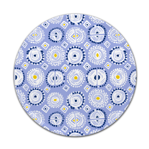 Custom melamine printing - blue coaster with patterns